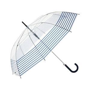 傘 【雨傘】プリュイ ボトムボーダー ビニール傘 65cm ネイビー