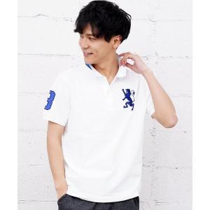 ポロシャツ [GIORDANO]3Dライオン刺繍ポロシャツ