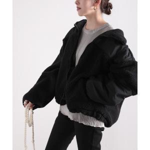 ジャケット ブルゾン スタンドカラー ミドル丈ツートーン配色ボリューム袖ボアジャケット
