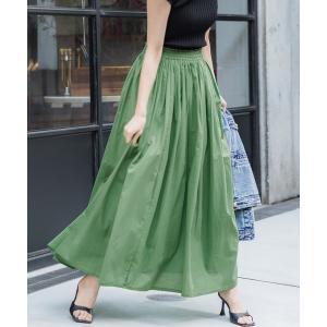 スカート やわらかしわ感コットンフレアロングスカート