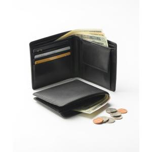 財布 牛本革レザー 隠しポケット付 スリム 二つ折り財布の画像