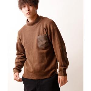 ニット 【POWER TO THE PEOPLE】メルティエルボーパッチモックニットセーター