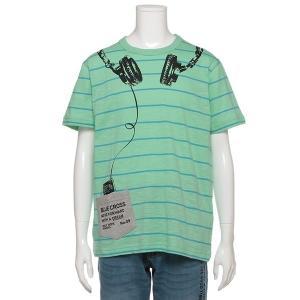 tシャツ Tシャツ ヘッドフォンプリントボーダー半袖Tシャツ
