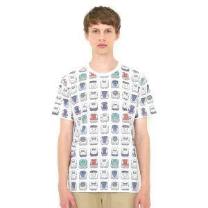 コラボレーションTシャツ/でんしゃのずかんパターン(でんしゃのずかん)(ホワイト)