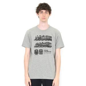 コラボレーションTシャツ/蒸気機関車(でんしゃのずかん)(ヘザーグレー)