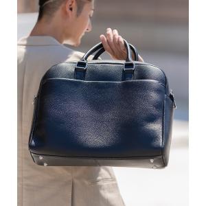 バッグ ビジネスバッグ 大容量12L ダブルジッパー シュリンクレザー ビジネス ブリーフケース