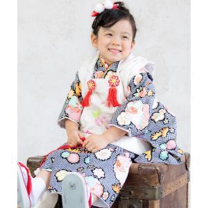 着物 「KYOETSU/キョウエツ」着物セット 七五三用 3歳用 被布セット CCM 10点セット(被布、着物、伊達衿、刺繍半襟、長襦袢、髪飾り、巾着の画像