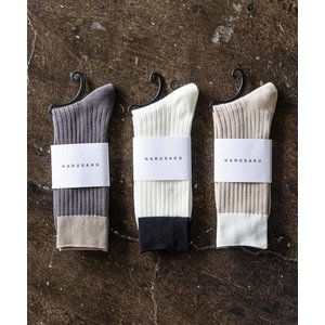 靴下 HARUSAKU CC:Men's RIB bicolor socks 3P set