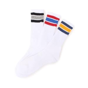 クルーマルチボーダーラインソックス/3足組靴下