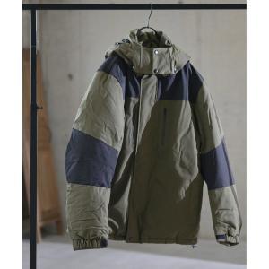 ダウン ダウンジャケット 【2】防風撥水ストレッチ 中綿切り替え フード脱着ブルゾン