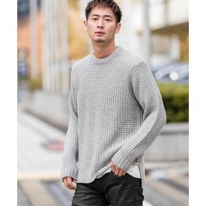 ニット ワイド 畦編み / オーバーサイズ クルーネック ビッグ セーター