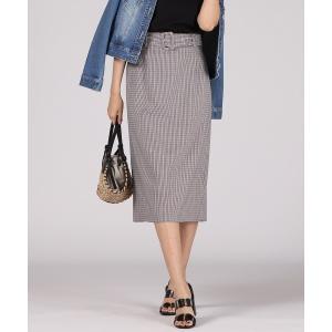 スカート 【WEB別注】ベルト付きチェックタイトスカート