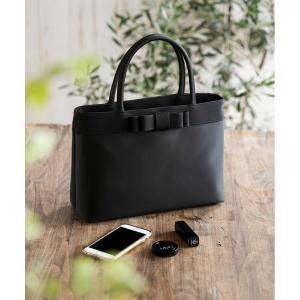 バッグ ハンドバッグ 【慶弔両用】トート型リボン付きブラックバッグ