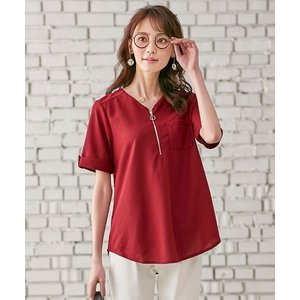 tシャツ Tシャツ かのこ素材ジッパー使いプルオーバー