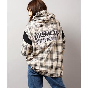 パーカー 【VISION STREET WEAR】サテンロゴ&スプラッシュ半袖Tパーカー