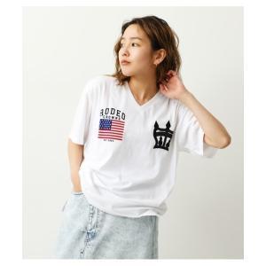 tシャツ Tシャツ クラウン刺繍VネックTシャツ