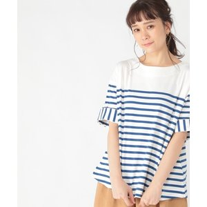 tシャツ Tシャツ ボーダー5分袖ワイドプルオーバー