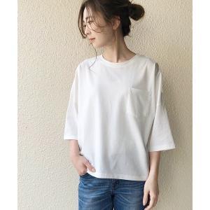 tシャツ Tシャツ ポケット付きドロップショルダーカットプルオーバー