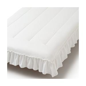 ベッド 寝具 ふわろ ベッドパッド フリル ダブル ホワイト