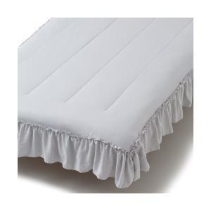 ベッド 寝具 ふわろ ベッドパッド フリル ダブル グレー