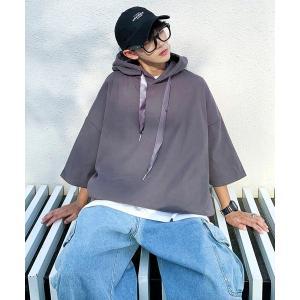 パーカー 【neos -addictive design-】ピーチスキン ビッグシルエット リボン ...