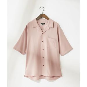 シャツ ブラウス Confirm/コンファーム レーヨンタッチオープンカラー半袖シャツ