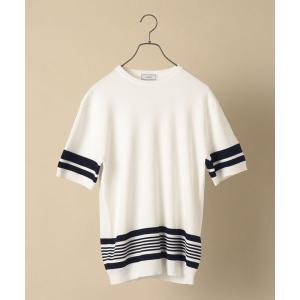 ニット SD: 【手洗い可能】14ゲージ パネル マルチ ボーダー クールネック ニットTシャツ