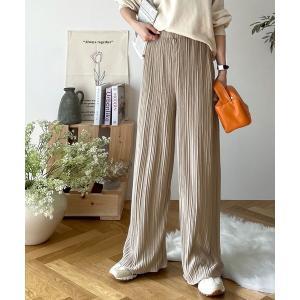 パンツ エアリーに揺れる。裾メローフレアプリーツパンツ
