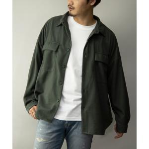 ジャケット ミリタリージャケット 起毛無地チェック柄ビッグシルエットCPOシャツジャケット