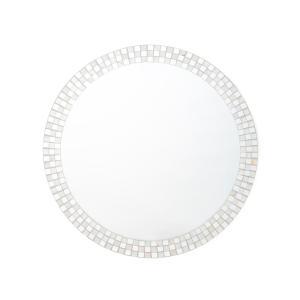 鏡 シェル モザイク ウォールミラー S ホワイト