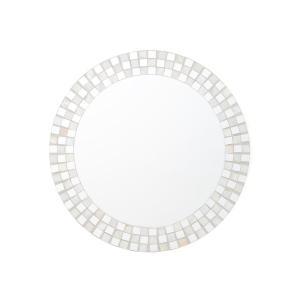 鏡 シェル モザイク ウォールミラー L ホワイト