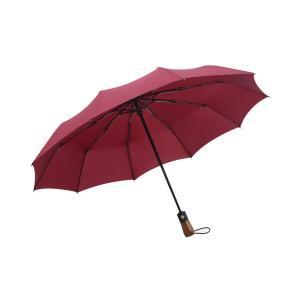 折りたたみ傘 【大人気!木製持ち手 丈夫な10本骨 自動開閉折りたたみ傘】
