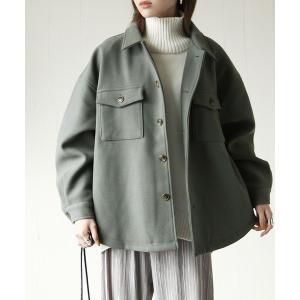 ジャケット ブルゾン ウールライクバックスリットCPOシャツジャケット