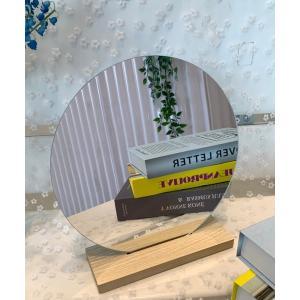 鏡 【インテリア】卓上ウッドスタンドウェーブミラー