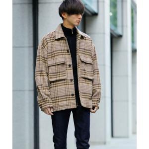 ジャケット ブルゾン シャギー チェック オーバーサイズ CPOジャケット