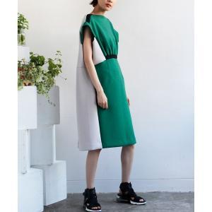 ワンピース 配色切り替えドレス