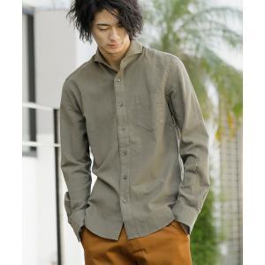 シャツ ブラウス 麻コットン ホリゾンタルカラー 長袖 カラーシャツ