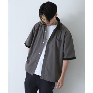 シャツ ブラウス 高密度T/Cブロードビックシルエット半端袖シャツ