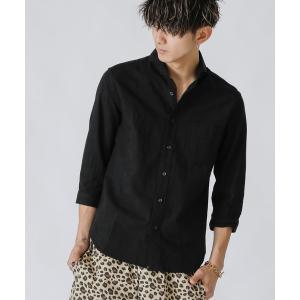 シャツ ブラウス 麻コットン / ホリゾンタルカラー 7分袖 カラーシャツ