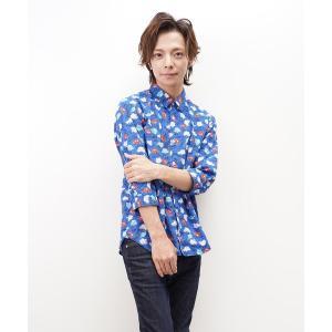 シャツ ブラウス 日本製総柄プリントレギュラーカラー七分袖シャツ コレクション(GW)