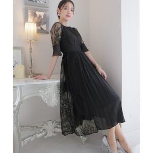 ドレス アシンメトリープリーツ&レースドレスの画像