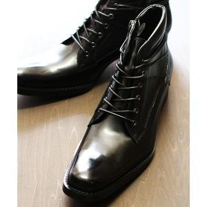 ブーツ スクエアトゥ ファスナー付きレザーレースアップブーツ