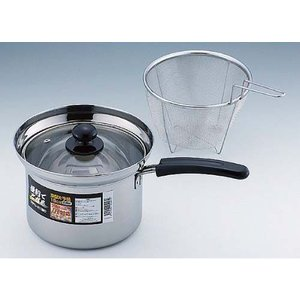 片手鍋 便利でござる 深型片手鍋 18cm ザル付|zumi