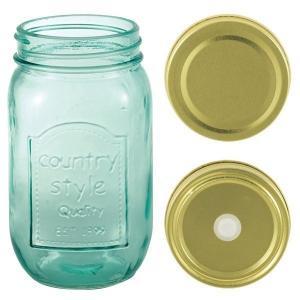 ガラスボトル 保存容器/ドリンクボトル おしゃれで可愛い  450ml フタ2種類&ストロー付属 ◇ クラシックジャー メイソンジャー【1個からご注文承ります】|zumi