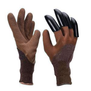 ガーデニンググローブ ブラウン ブルー ガーデングローブ 爪付きガーデン保護手袋|zumi