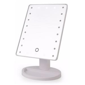 LED付きスタンドミラー 鏡 ミラー 卓上 化粧 証明 ライト付き タッチセンサー LEDライト