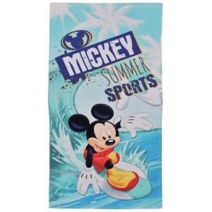 ミッキーのサーフィン姿がカッコイイ! 通常のバスタオルよりも少し大きく、イロイロな場面で使える便利な...