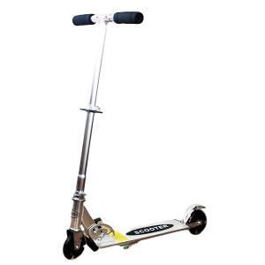 キックボード キックスクーター シルバー LEDホイール 折りたたみ式 折畳 キッズ 軽量 耐荷重約90kg|zumi