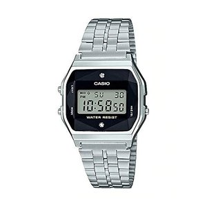 送料無料 CASIO カシオ A159WAD-1 デジタル チープカシオ チプカシ 天然 ダイヤモンド スタンダード デジタル メンズ シルバー ブラック 腕時計|zumi