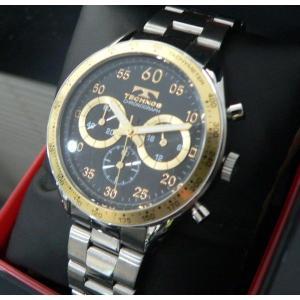 テクノス TECHNOS T2255SH クロノグラフ 10気圧防水 腕時計ブラック/ゴールド|zumi